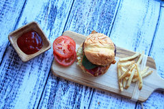 Cheese Burger French Fries and Ketchup Stock Image