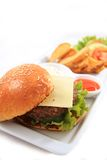 Cheese burger isolated Stock Photography