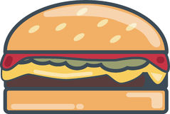 Cheese Burger. A single piece of cheese burger royalty free illustration