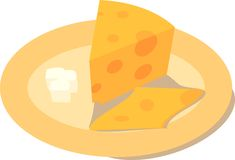 Cheese with a butter on a plate Stock Photography