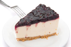 Cheese cake. With blue berry on top Royalty Free Stock Image