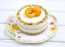 Cheese cake with apricots Stock Photo