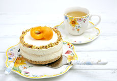 Cheese cake with apricots Royalty Free Stock Photo