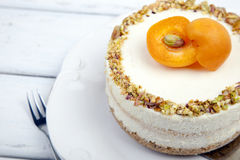 Cheese cake with apricots Royalty Free Stock Photos