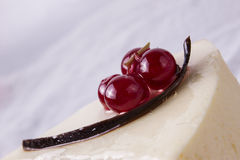 Cheese cake with berries and chocolate strip Stock Photos