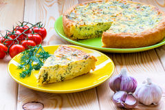 Cheese cake on the bright colored dishes Royalty Free Stock Photo