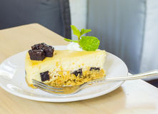 Cheese cake with brownie chocolate Stock Photos