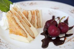 Cheese cake with cherries and chocolate royalty free stock photography