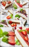 Cheese cake collage Stock Photos