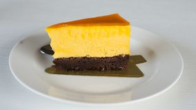 Cheese cake is delicious. Sweet, soft palate, you will love the taste stock photo