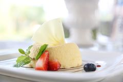 Cheese cake with fruits. In close up royalty free stock photography