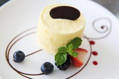 Cheese cake with fruits. On a plate royalty free stock photos