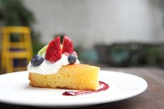 Cheese cake with fruits, Dessert. Cheese cake with fruits on a plate stock image