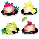 Cheese cake with fruits and berries Royalty Free Stock Images