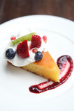 Cheese cake with fruits Royalty Free Stock Image