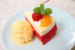 Cheese cake with fruits, Dessert. Cheese cake with fruits on a plate stock photos
