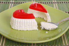 Cheese cake in a heart-shaped cut Stock Photos