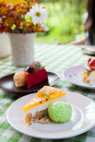 Cheese cake and  ice-cream on plate  with fruit topping. Royalty Free Stock Images
