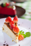 Cheese cake and  ice-cream on plate  with fruit topping. Stock Images