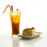 Cheese cake and iced lemon tea Royalty Free Stock Photography