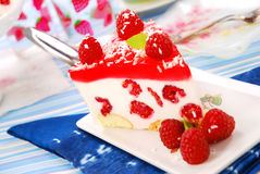 Cheese cake with jelly and raspberry Royalty Free Stock Photography