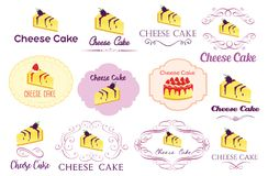 Cheese Cake Logo Vector Graphic Bundle. For many purpose such as food industry logo, banner, website, blog, sticker and other print stuff for stationary, etc stock illustration