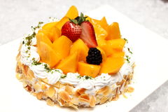 Cheese cake with mango Stock Image