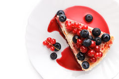 Cheese cake New-York with berries Stock Image