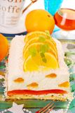 Cheese cake with oranges and jelly for christmas Stock Photos
