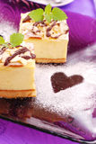 Cheese cake on purple plate Stock Image