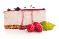 Cheese Cake slice. On white background Royalty Free Stock Photo
