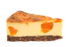 Cheese cake slice. With pumpkin isolated on white royalty free stock photos