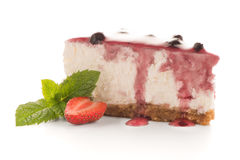 Cheese Cake slice. On white background Royalty Free Stock Images