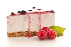 Cheese Cake slice. On white background Royalty Free Stock Photos