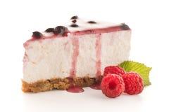Cheese Cake slice. On white background Stock Photos