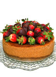 Cheese cake and strawberries Stock Images