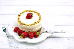 Cheese cake with strawberries Royalty Free Stock Image