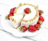 Cheese cake with strawberries Stock Photo