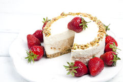 Cheese cake with strawberries Royalty Free Stock Photo