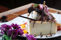Cheese cake with strawberry and oreo Stock Photo