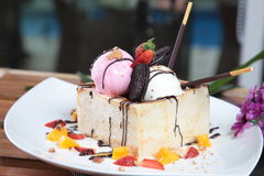 Cheese cake with strawberry and oreo Stock Image