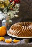 Cheese cake. With tangerine juice and raisins Stock Photo