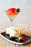 Cheese Cake & Tomato Jelly in Champagne. A set of nice presentation of Cheese cake & Tomato Jelly in Champagne Dessert Royalty Free Stock Photography