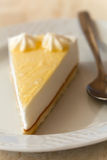 Cheese cake with whipped cream , close up Stock Photo