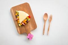 Cheese Cake on white background Stock Photos