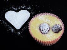 Cheese cake. And white heart - love cake Stock Photo