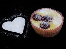 Cheese cake. And white heart - love cake Royalty Free Stock Image
