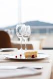 Cheese cake on white plate Stock Photos