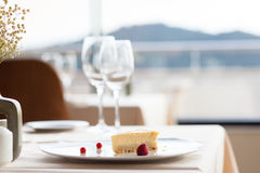 Cheese cake on white plate Stock Photography