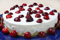 Cheese Cake With Fresh Cherries Royalty Free Stock Image